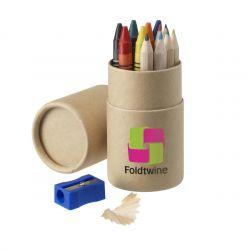 Kit med 6 kritor och 6 färgpennor