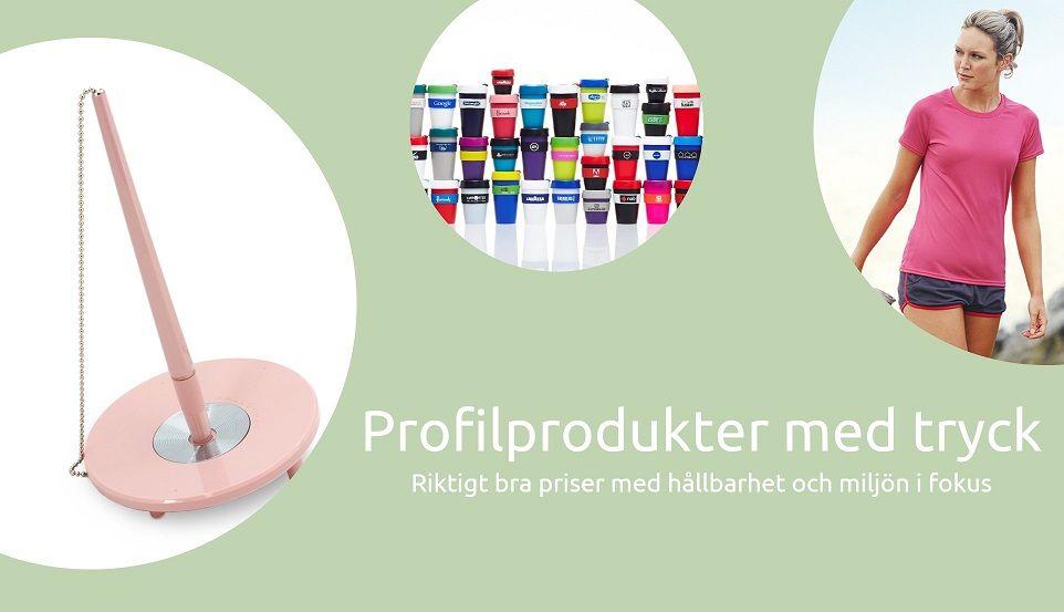 Profilprodukter med tryck till riktigt bra priser med hållbarhet och miljön i fokus.